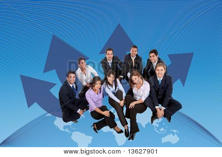Global business team sitting over the Earth
