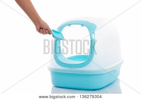 Cat litter box on white background isolated