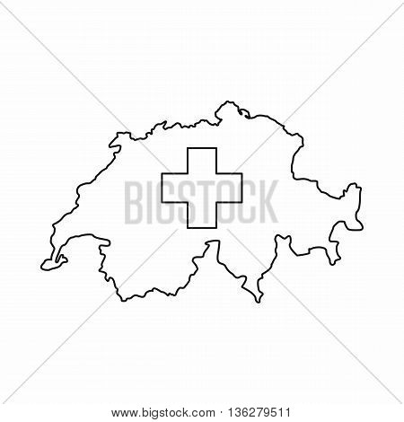Switzerland map icon in outline style isolated on white background