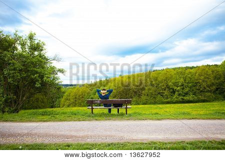 Male Resting On The Bench On The Field Of Dandelions