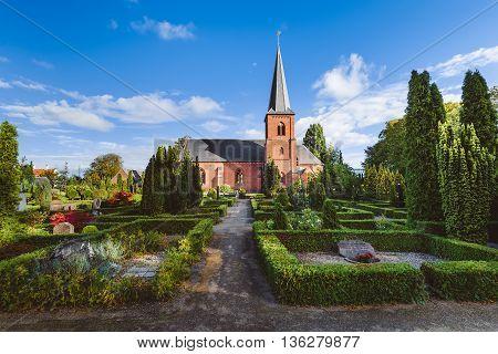 City Cemetery And Catholic Church In Dragor, Denmark.