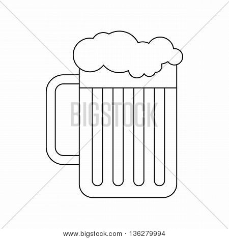 Beer mug icon in outline style isolated on white background