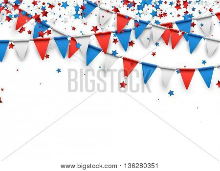 Background with flags and stars. Vector illustration.