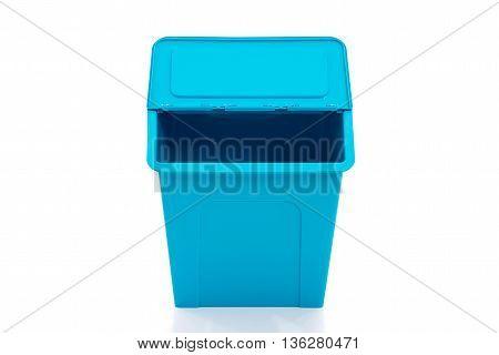 Blue storage box on white background isolated
