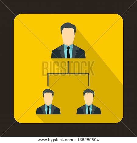 Company structure icon in flat style on a yellow background
