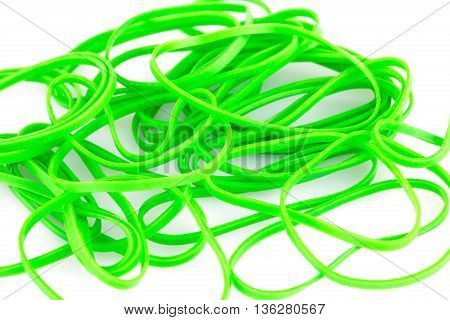 Green rubber bands close up horizontal picture.