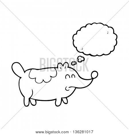 freehand drawn thought bubble cartoon small fat dog