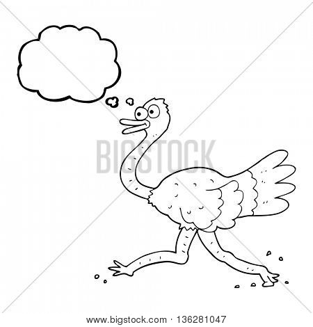 freehand drawn thought bubble cartoon ostrich