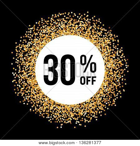 Golden Circle Frame on Black Background with Discount Thirty Percent