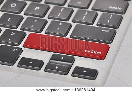 Keyboard  Button Written Word We Listen