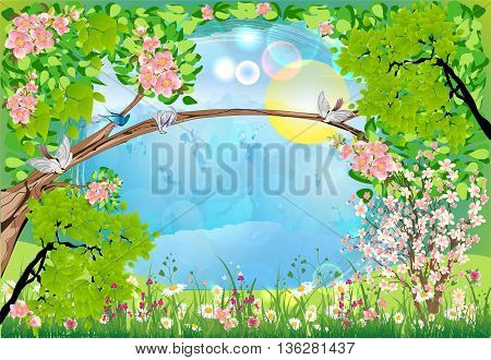 Spring landscape with trees, flowers and birds