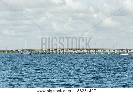 Edison Bridge in Fort Myers from boat Southwest Florida.