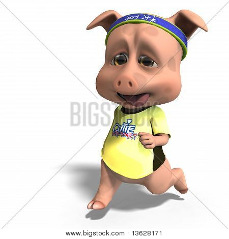 cute toon pig takes a jogging run