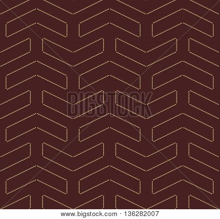 Geometric vector pattern with dotted elements. Seamless abstract background. Brown and golden pattern