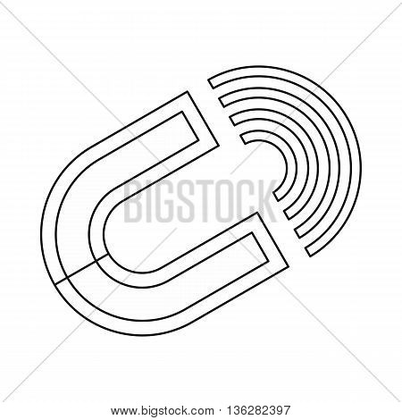 Horseshoe magnet icon in outline style isolated on white background