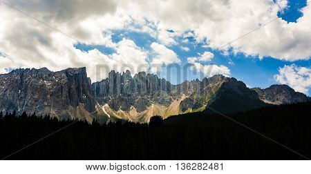 Mountains At Latemar Massif At Dolomites In The Alps