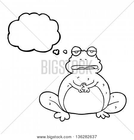 freehand drawn thought bubble cartoon frog