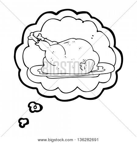 freehand drawn thought bubble cartoon cooked chicken