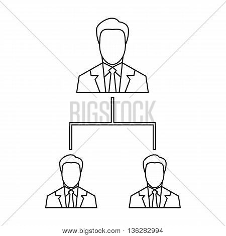 Company structure icon in outline style isolated on white background