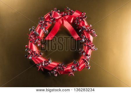 Christmas Wreath In Red With Ribbon
