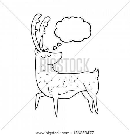 freehand drawn thought bubble cartoon manly stag