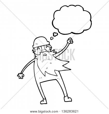 freehand drawn thought bubble cartoon old man in thermal underwear