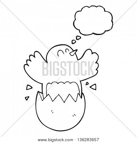 freehand drawn thought bubble cartoon hatching egg