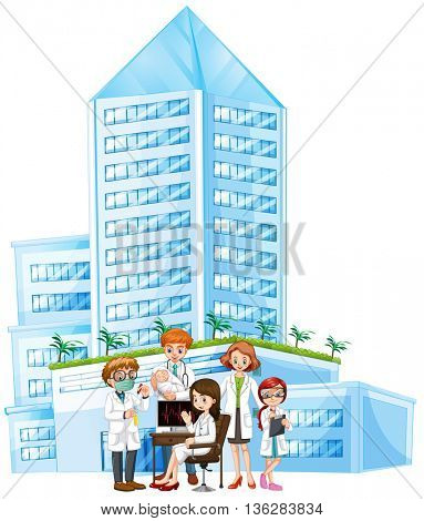 Doctors working at the hospital illustration