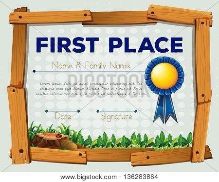 Diploma template with garden bacground illustration