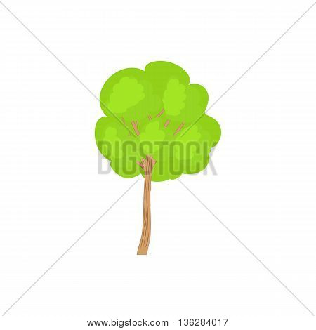 Green tree with a rounded crown icon in cartoon style on a white background