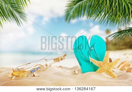 Sandy tropical beach with shells, bottle with message and starfish