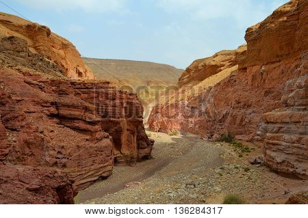 Beautiful sandstone cliffs of the Red Canyon in the mountains of Southern Eilat Israel.