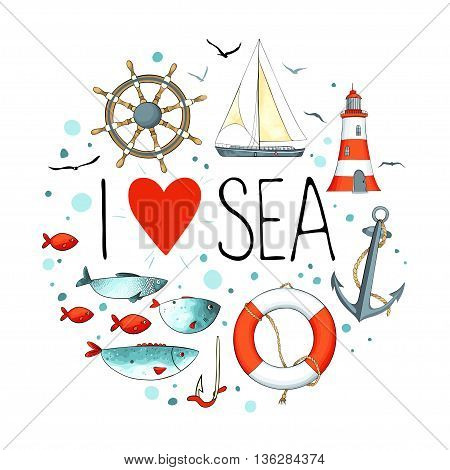Collection of nautical elements in a circle shape. There are lighthouse, seagull, sailboat, life buoy, fish, anchor, hook and wheel. Objects isolated on white background. Vector illustration.