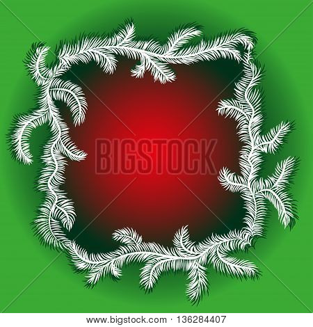 Winter red abstract background with spruce twigs. Christmas frame
