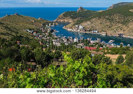 Balaklava is a popular Crimean resort. Balaklava bay former submarine base.