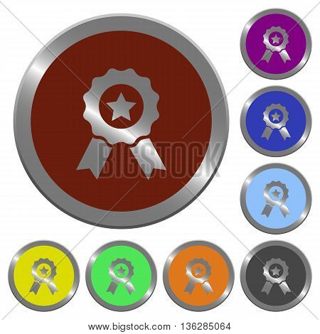 Set of color glossy coin-like award buttons.