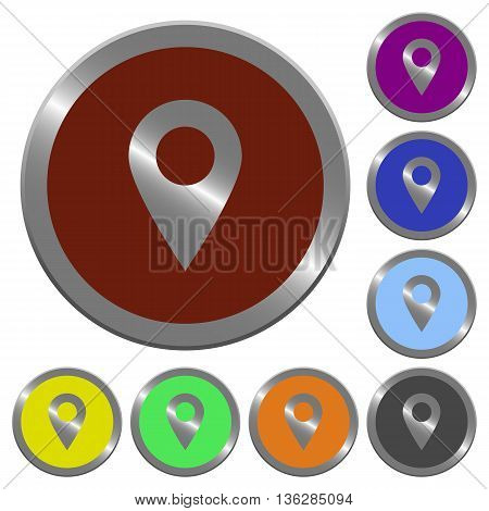Set of color glossy coin-like location pin buttons.