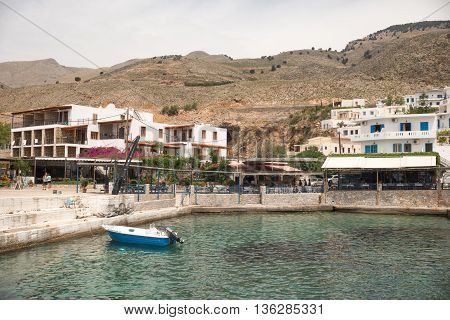 Greece, Chora Sfakion - May, 20. 2016: View On The Town And The Harbour Of Chora Sfakion