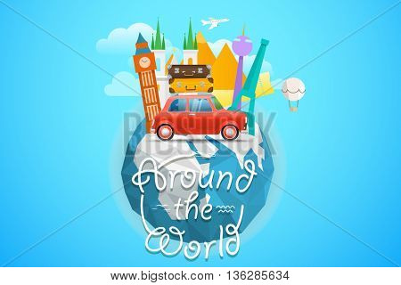 Vacation traveling concept. Vector travel illustration with different famous sights. Around the world concept with the logo and the Earth