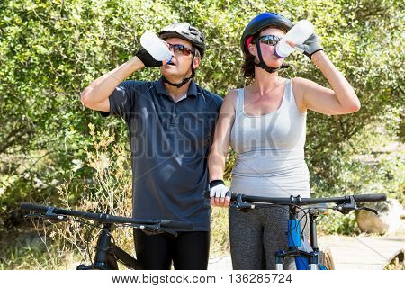 Couple drinking on the wood