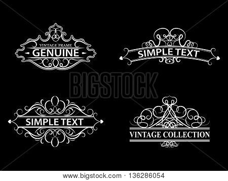 Wicker lines and old decor elements in vector. Vintage borders, frame and rosette in set. Vector page decoration. Decoration for logos, wedding album or restaurant menu. Calligraphic design elements