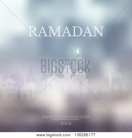 Ramadan Kareem islamic background with Lamp and silhouette mosque. Arabic vector Lamp on shiny abstract background for Ramadan Kareem. Silhouette mosque, light, blur and bokeh