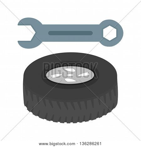 Tyre, car, alloy icon vector image. Can also be used for car servicing. Suitable for use on web apps, mobile apps and print media.