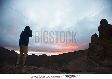 Tourist on top of mount