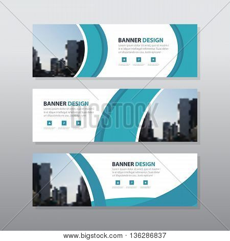 Blue curve abstract corporate business banner template horizontal advertising business banner layout template flat design set clean abstract cover header background for website design