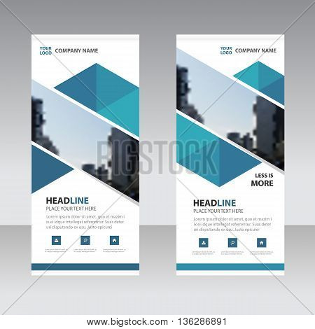 Blue abstract triangle Business Roll Up Banner flat design template Abstract Geometric banner template Vector illustration set abstract presentation template