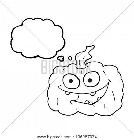 freehand drawn thought bubble cartoon pumpkin