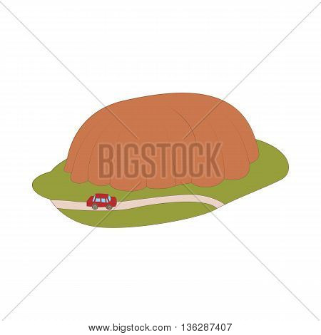 Car goes around mountain icon in cartoon style isolated on white background. Road and travel symbol