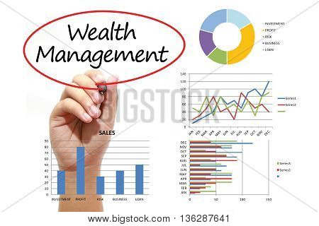 Businessman writing Wealth Management in red circle on virtual screen. Business banking finance and investment concept.