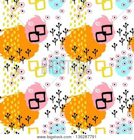 Pattern of retro vintage 80s or 90s style. Memphis abstract seamless pattern background. Memphis pop style for textile fabric design for retro party fabric design. Vector illustration.